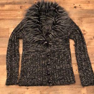 Bcbg Marled fur neck line sweater